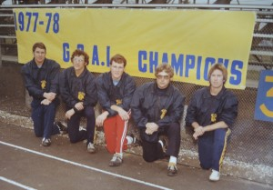 """Roy """"Pops"""" Warner, second to last, with the 1977 Clarkston Varsity Football coaches after the team won the Greater Oakland Athletic League Championship. Photo provided"""