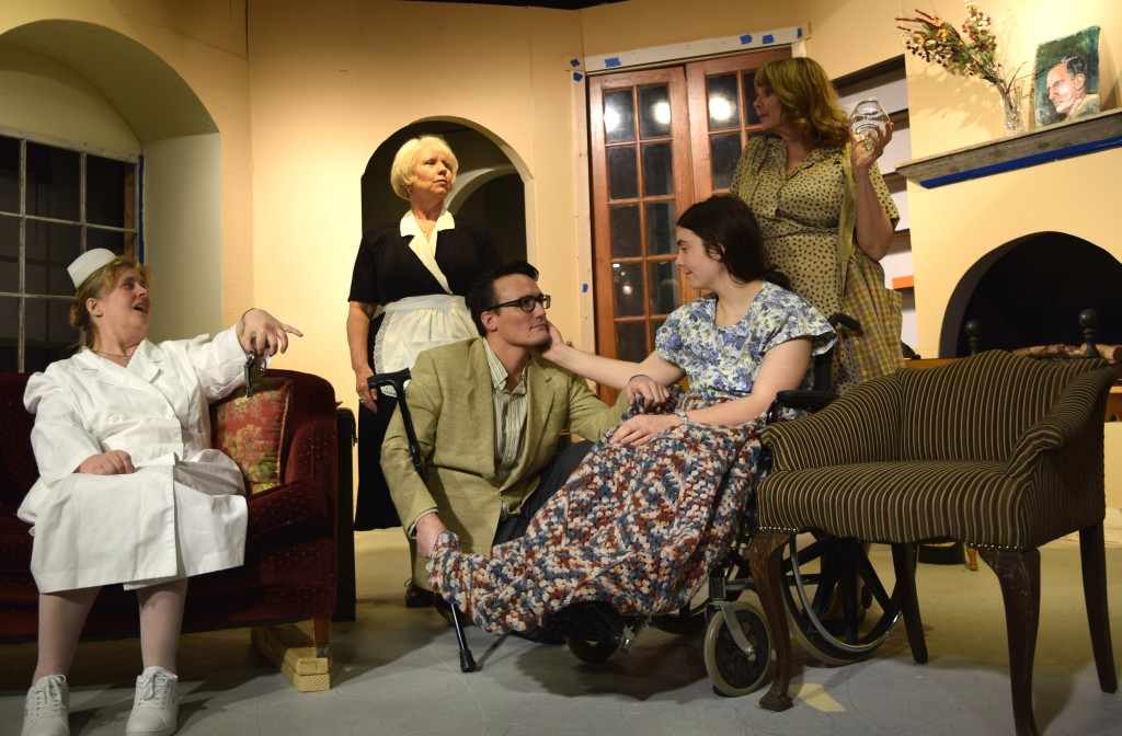 From left, Nurse Pepper (Elizabeth Rager), Jenny the housekeeper  (Melissa Breckenridge), Dr. Corey Phillips (Michael Bell), Ellen the heiress (Bethany Roberts), and Ellen's stepmother Karen (Linda Leath). Photo provided