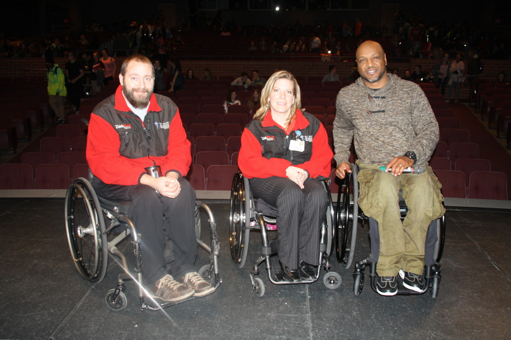 Speakers Nick Cramer, Mary Kunz and Myreo Dixon shared their traumatic-injury stories with students at Clarkston High School during the ThinkFirst presentation, organized by Students Against Destructive Decisions. Photo by Jessica Steeley