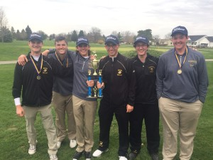 The Clarkston Boys Varsity Golf team celebrates winning their first tournament of the season. File photo