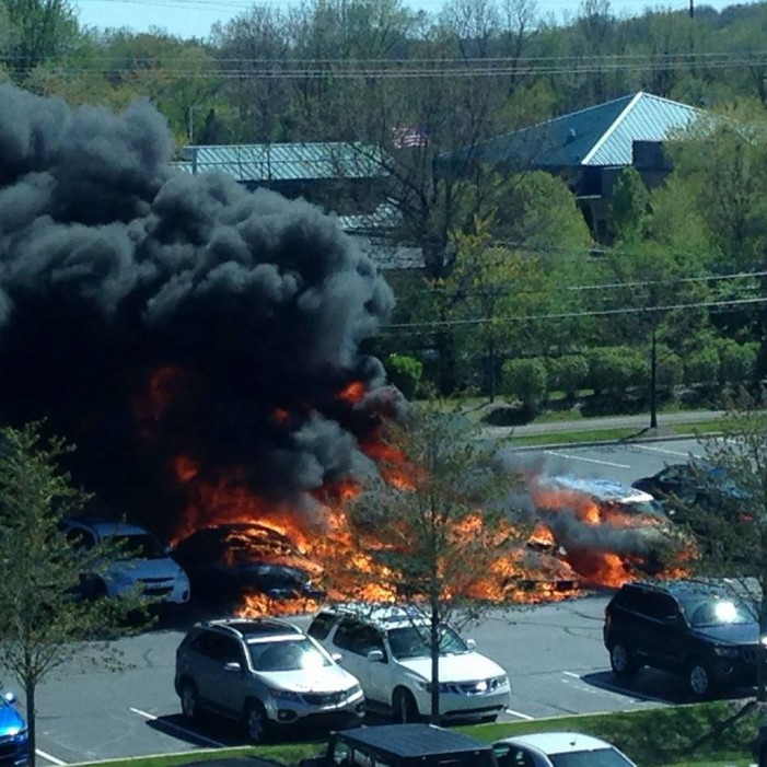 Parking lot fire