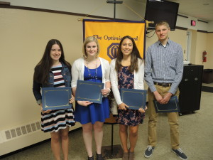 From left are Optimist scholarship winners Marissa Lockwood, Sarah Snyder, Riley Kloostra, and Andrew Ross. Photo by Phil Custodio