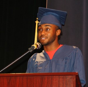 RHS student speaker Roland Hill congratulates his fellow graduates. Photo by Jessica Steeley