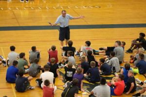 "Dan Fife shares with the campers it only gets harder every level they go up,  ""nobody wants to lose,"" he said. Photo by Wendi Reardon Price"