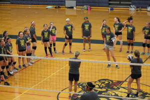 Clarkston Varsity Volleyball Head Coach Kelly Pinner explains the next exercise to the campers on June 30. Photo by Wendi Reardon Price