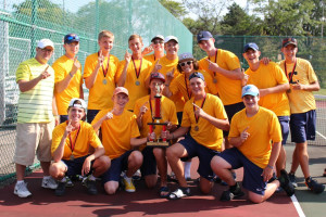 The Clarkston Boys Varsity Tennis team finishes the Grand Blanc Invitational in first place. Photo provided