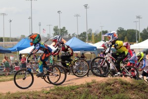 Brenden GoldsteIn leads the pack at a BMX race. Photo provided