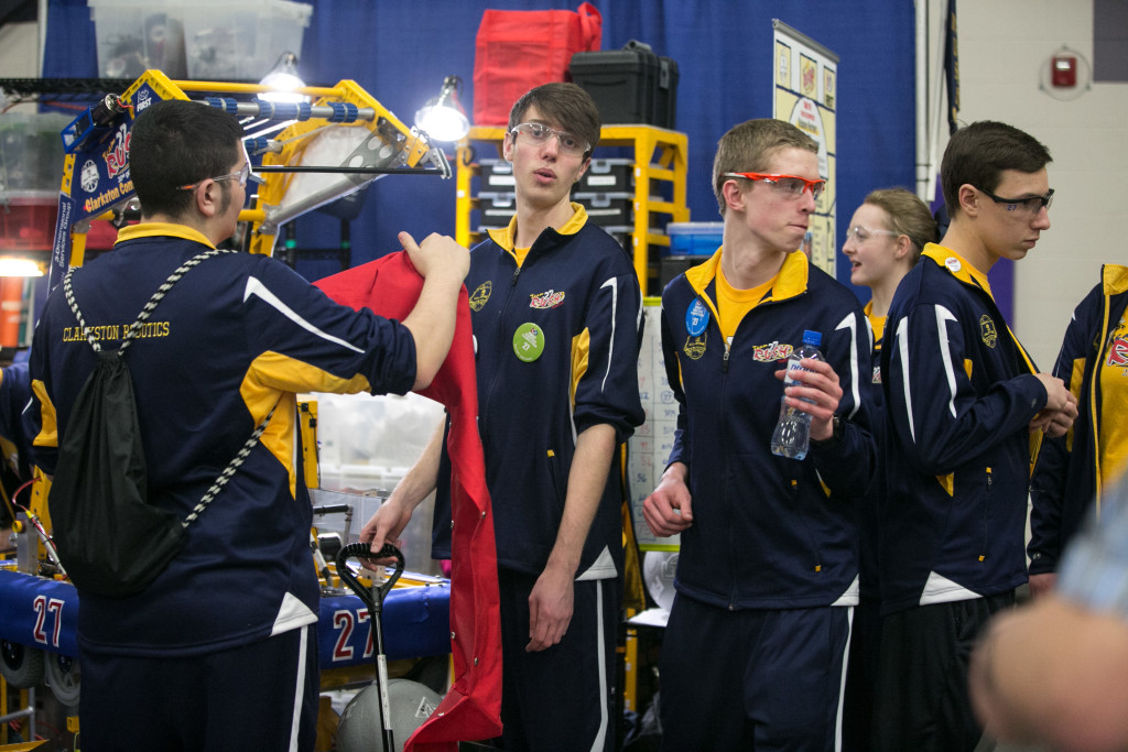 Team RUSH students prepare their robot for competition. Photosprovided by Dale Schnepp