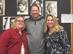 Kevin Breen, Margaret Messina and Nichole Kaplan-Rudolph are organizing Clarkston High School's art show. Photo by Kalei Hubert-McLennan