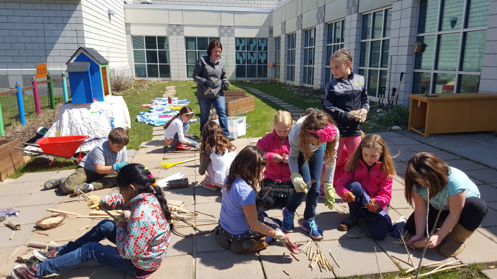 Students work on Bronco Bee Motels, as well as a new Little Free Library for the Learning Garden. Photo provided
