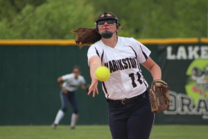 Hailey Minton pitches against Lake Orion, May 26. Photo by Wendi Reardon