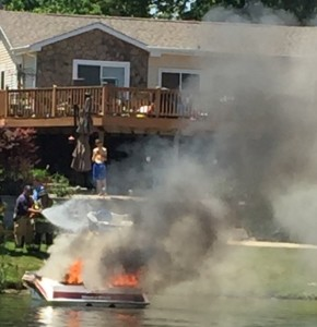 Independence Township Fireifghters were on the shore ready to finish putting the fire out. Photo submitted.