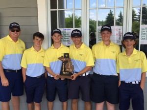 The Clarkston Boys Varsity Golf team, including Coach Pete Gallagher, Harry Bowman, Noah Bridgemann, Patrick Deardorff, Brady Dice, and Noah Sampson, celebrate their district championship win last Wednesday. Photo submitted
