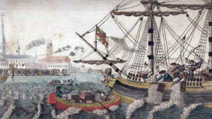 "Source: W.D. Cooper. ""Boston Tea Party."", The History of North America. London: E. Newberry, 1789. Engraving. Plate opposite p. 58. Rare Book and Special Collections Division, Library of Congress. wikipedia.org/wiki/Boston_Tea_Party"
