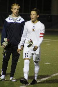 Jacob Moreno during the Wolves' senior night celebration.