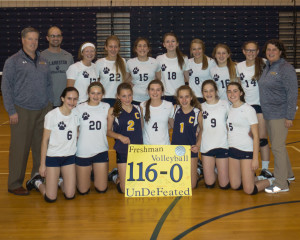 The Clarkston Freshman Volleyball team completes their season with a 116-0 record, Oct. 25. Photo by Renee Weaver-Wright