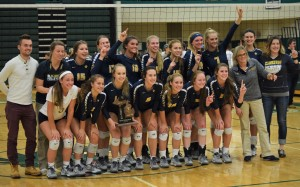 Clarkston Varsity Volleyball claims the district crown at Lake Orion last Friday. Photos by Jim Newell