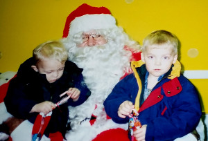 Young Master Sean, 2, really wanted nothing to do with Santa. Shamus, was still bummed he blew it with the big guy in the red suit.