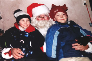 Sean, now 4, is really into the idea of Santa. Shamus, is into the new 'spirit' of Christmas!