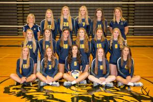 Clarkston Varsity Volleyball team. Photo by Visual Sports Network
