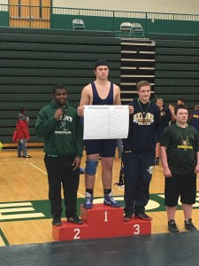 Eighth grader Rocco Spindler wins his second Oakland County 7th & 8th Wrestling tournament. Photo provided