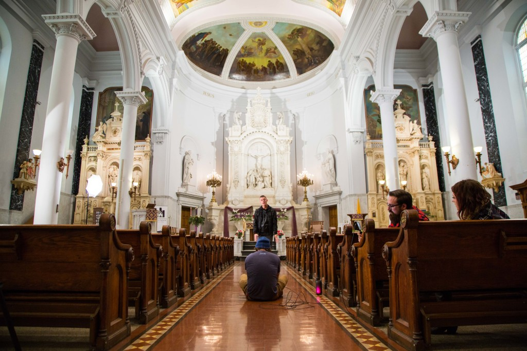 Singer Ryan Scott films his video at St. Peter and Paul's. Photo provided