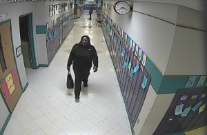 School surveillance filmed an unauthorized visitor at North Sashabaw Elementary.