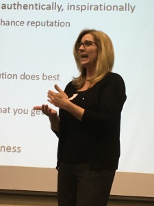 Kelli Horst discusses her marketing consultant career to higher education, with the high schoolers.