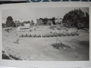 Ford dump trucks are lined up below the dam, west of downtown Clarkston in 1940. Les Haight's grandfather Ed Haight was an electrical engineer and jack-of-all-trades, and worked on the dredging of the Clarkston Mill Pond.