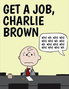 Peanuts Comic hero Charlie Brown listening to an adult scold him. Wah-Wah-Wah.