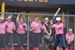The Lady Wolves cheer from the dugout in their game against Hartland during the Pink Classic. Photo by Wendi Reardon Price