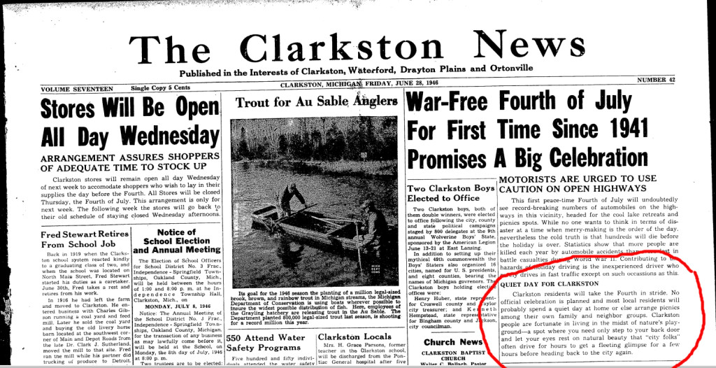Today's publication date is June 28, 2017. Here is the Clarkston News from June 28, 1946.