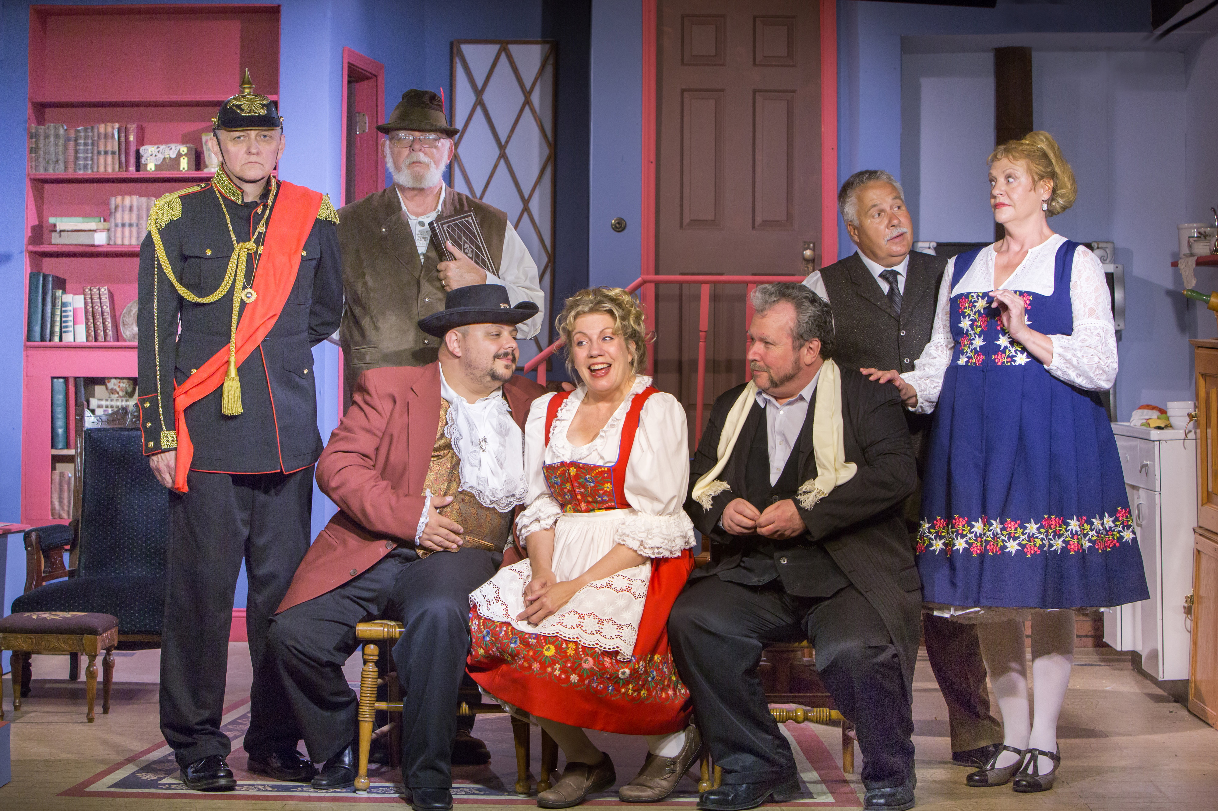 From left are Clarkston Village Players Jim Pike, Dwaine Estes, Scott Talas, Wendy Hedstrom, Brian Taylor, Steve Sanger, and Carol Taylor. Photo courtesy of Emily J. Dowd