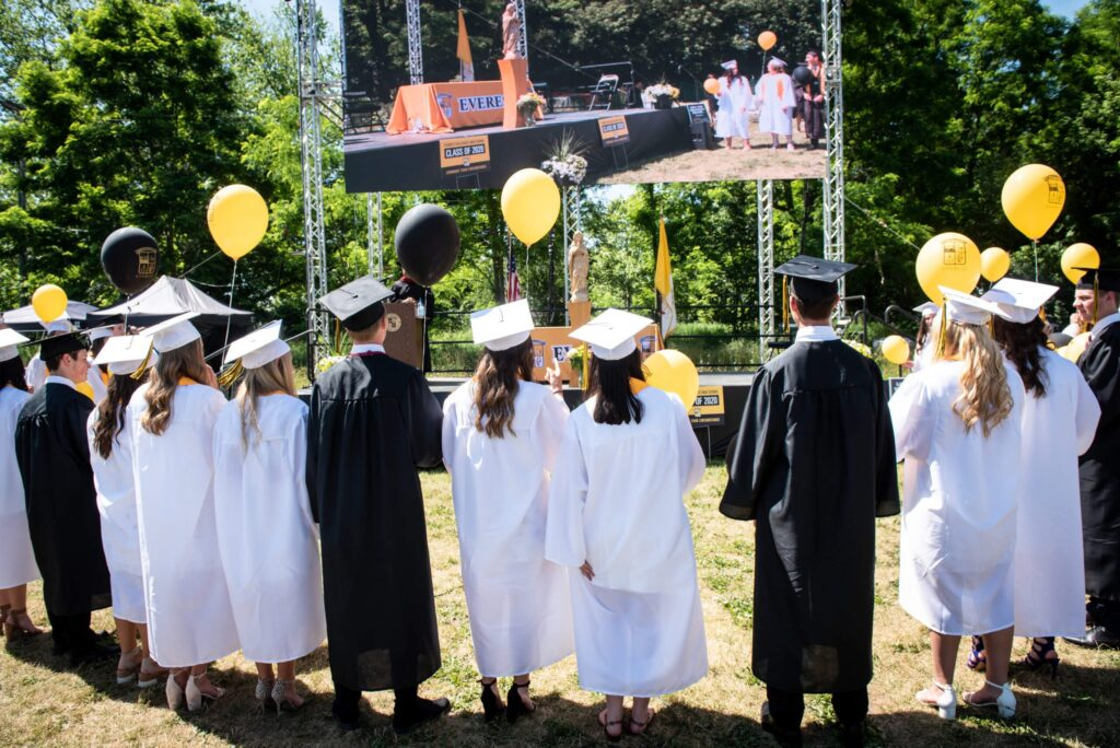 As is Everest tradition, students processed out and received a balloon. Together, they prayed a final decade of the rosary before releasing their balloons just as they did at their kindergarten graduation. Photos provided