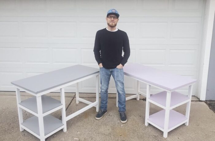 Area man building school desks for those in need